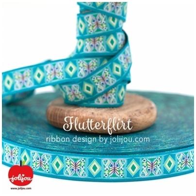 Farbenmix Webband Flutterflirt Türkis