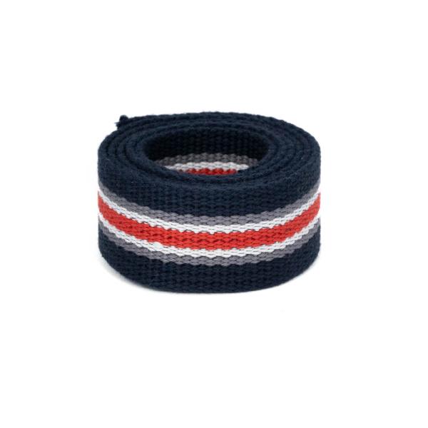 Baumwollgurtband, 32mm (1,25 inch), blau/grau/weiss/rot