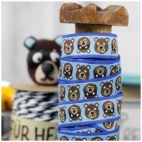 Farbenmix Webband Helmut der Bär auf blau
