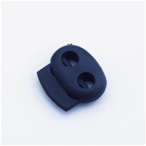 Kordelstopper mit 2 Löchern, schwarz