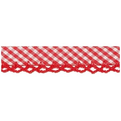 Schrägband mit Häkelborte, vichy rot