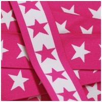 Gummiband mit Sternen, 40mm, weiss/pink