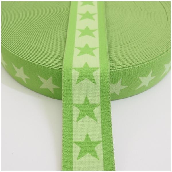 Gummiband mit Sternen, 40mm, lime/kiwi