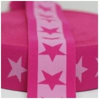 Gummiband mit Sternen, 40mm, rosa/pink