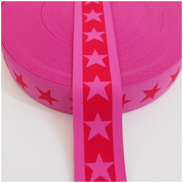 Gummiband mit Sternen, 40mm, rot/pink