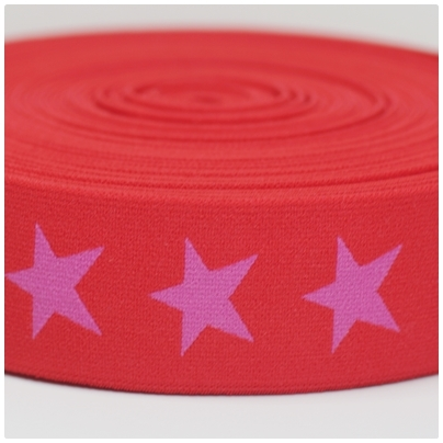 Gummiband mit Sternen, 40mm, pink/rot