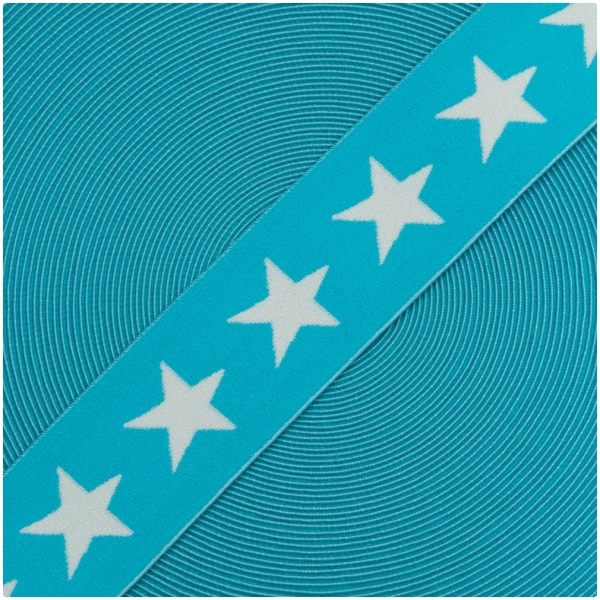 Gummiband mit Sternen 40mm Weiss/Aqua