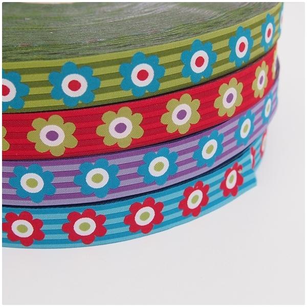 "Webband ""Flowers & Stripes"", türkis"