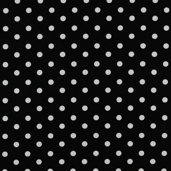 Baumwollpopeline Maxipunkte schwarz