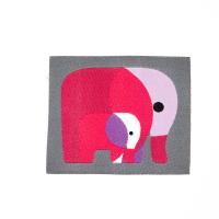 Webetikette  mit Elefanten, grau/pink, 50x48 mm gross