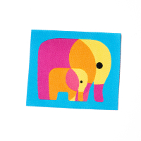 Webetikette mit Elefanten, türkis/gelb, 50x48 mm gross