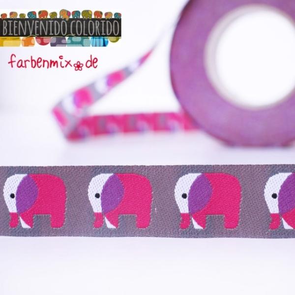 Farbenmix Webband mit Elefanten, grau-pink
