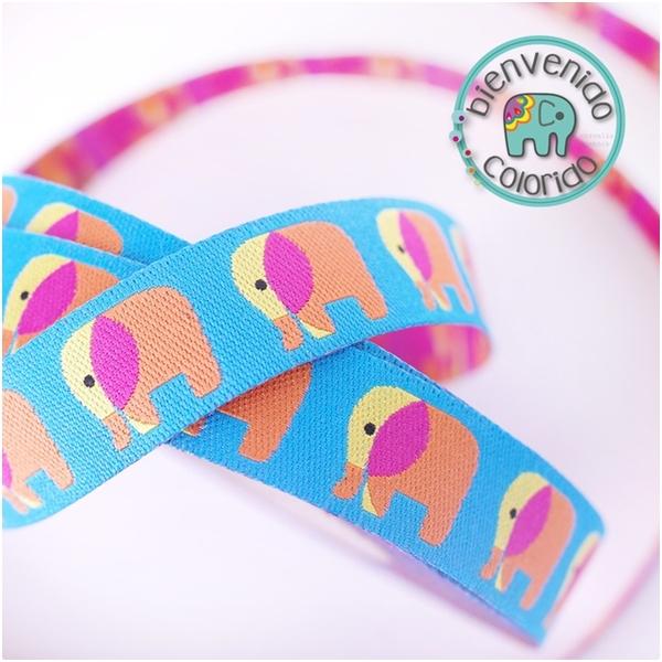 Farbenmix Webband mit Elefanten, türkis-gelb