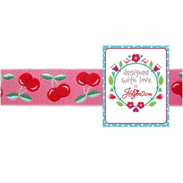 Farbenmix Webband Jolly Cherry Kirschen pink-rot
