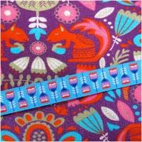 Farbenmix Webband Federblumen rot-pink auf türkis