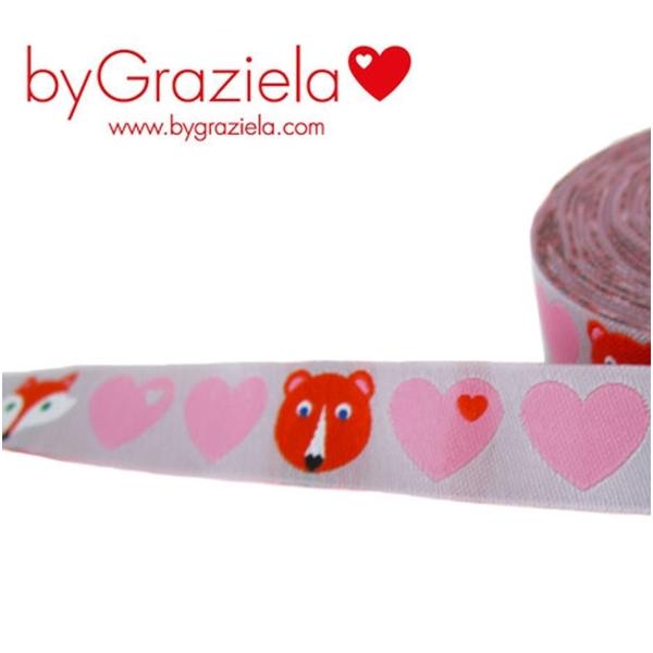 Farbenmix Webband byGraziela Herzen mit Bär & Fuchs, rosa-grau
