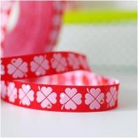 Farbenmix Webband byGraziela Glücksklee rot