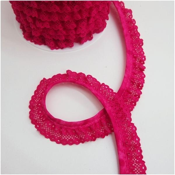 Rüschenspitze, uni pink