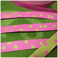 Farbenmix Webband Punkte lime-pink
