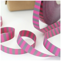 Farbenmix Webband Ringel pink-grau