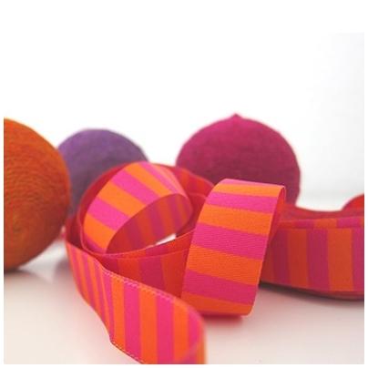 Farbenmix Webband Ringel pink-orange