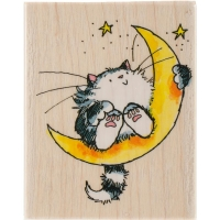 Holzstempel Cat on the Moon