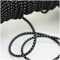 Elastische Kordel 3mm silber-schwarz reflektierend