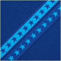 Gummiband mit Sternen 20mm Türkis/Royalblau