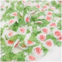 Organza Rose weiss-apricot-grün