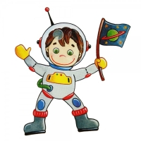 Safuri Bügelbild Astronaut mit Fahne