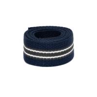 Baumwollgurtband, 32mm (1,25 inch), blau/grau/weiss
