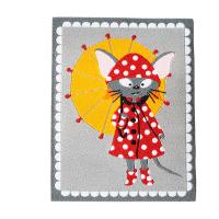 Webetikette Mäusschen mit Regenschirm 75x58mm