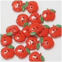 Knopf Äpfelchen rot 19mm