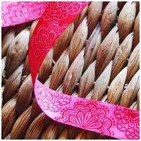 Farbenmix Webband Spitzenwerk rosa/rot
