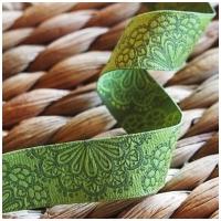 Farbenmix Webband Spitzenwerk oliv-lime