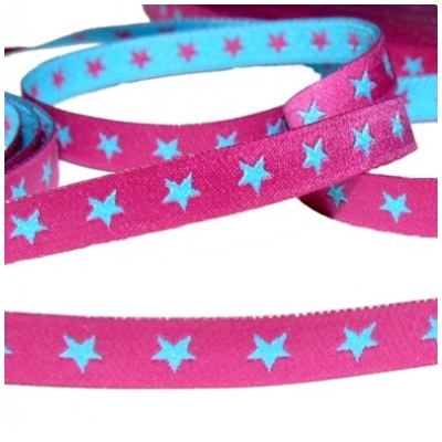 Farbenmix schmales Sternchen Webband türkis/pink