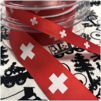 Satinband rot mit Schweizerkreuzen 25mm