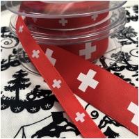 Satinband rot mit Schweizerkreuzen 10mm