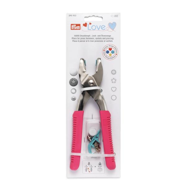 Prym Vario Zange mit Snaps Aufsatz und Lochwerkzeug Pink