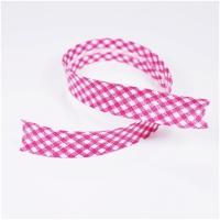 Schrägband vichy weiss-pink