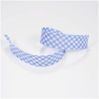 Schrägband vichy weiss-hellblau