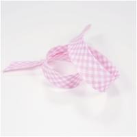 Schrägband vichy weiss-rosa