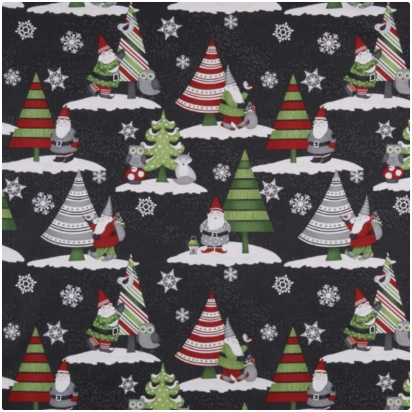 Baumwolle Winter Gnomes Scenic Gnomes Black
