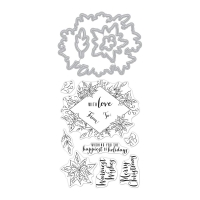 Hero Arts Stamp and Die Set Decorative Poinsettia Frame