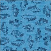 Baumwolle Motorin mit Autos blau