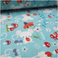 Baumwolle Enchanted Forest Maus, Fliegenpilze und Blumen...