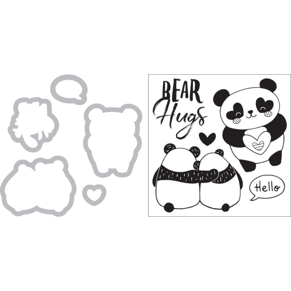 Sizzix Clear Stamp and Die Set Panda Bear Hugs