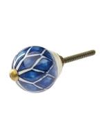 Möbelknopf ecru mit blauen Rauten