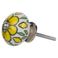 Möbelknopf weiss mit gelber Blume