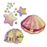 Safuri Bügelbild Muschel Set und Sternchen